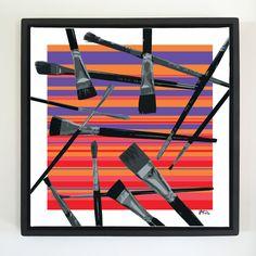 "Overflow series: ""Brushes"" 24 x 24 inch, digital art & gloss and matte gel on stretched canvas. 26.5 x 26.5 inch, float frame - black flat. ---------------------------------------- #popart #popartist #digitalart #art #artist #contemporaryart #colorfield #abstractart #gloss #matte #art #canvas #jonsavagegallery"