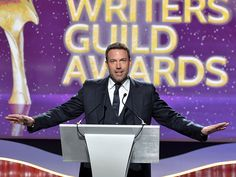 Star Tracks: Monday, February 16, 2015 | HE'S THE MAN | Ben Affleck gave a speech at the 2015 Writers Guild Awards in Century City, California, on Saturday.