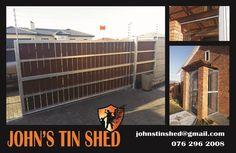 Custom sliding & security gates Tin Shed, Security Gates, Steel, Safety Gates, Steel Grades, Iron