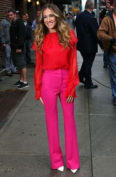 """Obviously, after """"Sex and the City,"""" I idolized Carrie.) But real-life Sarah Jessica Parker's style is just as impeccable. Here are some of my favorites: I must admit that I have repl… Sarah Jessica Parker, Carrie, Pink Pants, Yellow Pants, Red Blouses, Alexa Chung, Summer Trends, Blake Lively, Anna Dello Russo"""