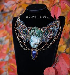 Autumn Dragon   Necklace Bead Embroidery Art por ElenNoel en Etsy