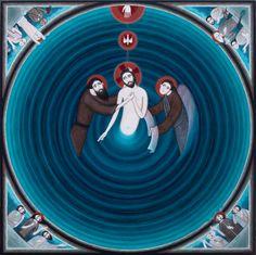Nikola Saric Baptism of Jesus Byzantine Art, Byzantine Icons, Christian Images, Christian Art, Religious Icons, Religious Art, Baptism Of Christ, Deep Art, Jesus Art