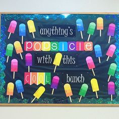 DIY summer bulletin board décor is filled with fun. Browse through some of our cool summer bulletin board ideas to help spruce up your summer classes. Toddler Bulletin Boards, Welcome Bulletin Boards, Kindergarten Bulletin Boards, Summer Bulletin Boards, Interactive Bulletin Boards, Teacher Bulletin Boards, Library Bulletin Boards, Summer Bulliten Board Ideas, September Bulletin Boards