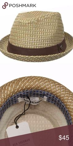 Mens Ben Sherman Hat Fedora Tan Brown Size S / M Men's brand new (with tags) Ben Sherman paper straw hat Tan and Brown Size Small / Medium (s/m on the tag) Brown band with Ben Sherman emblem Ben Sherman Accessories Hats