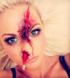 someone can tell she has a pencil through your nose? #hallowenmakeup Halloween Makeup #halloween #makeup