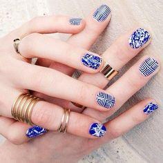 China blue porcelain nail art