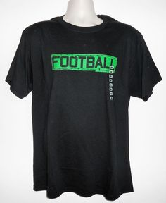 FOOTBALL Black Cotton Short Sleeve T-Shirt Men Size LARGE ~ NEW w/ Tag $20 #Champion #GraphicTee