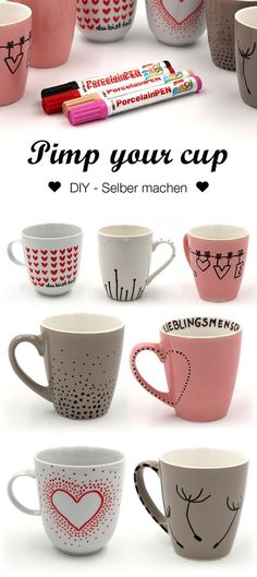 Tassen bemalen – kreative Ideen und Vorlagen für das Tassen selbst gestalten Paint cups with simple patterns. Whether as a DIY idea or gift for the girlfriend, I'll show you simple ideas for painting cups with porcelain pens. Diy Presents, Diy Gifts, Best Gifts, Xmas Gifts, Diy Becher, Porcelain Pens, Painted Porcelain, Motif Simple, Diy 2019