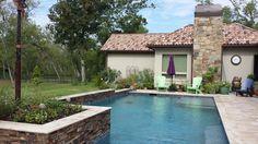 Poolside raised flower beds.