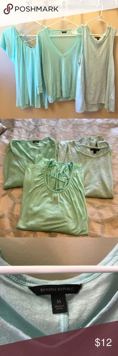 Women's mint bundle from jcrew banana & Charlie Women's mint bundle ...three mint tops ...one jcrew light weight sweater a charming Charlie oversized tee and banana linen Cotten tank...charming Charlie is a large and the banana and jcrew tops are medium...three for 12 bucks Tops