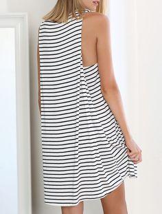 White Black Sleeveless Striped Dress - Sheinside.com