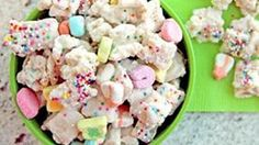 Chex and marshmallows from Lucky Charms, add melted chips... what's not to love?.