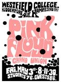 A very colourful poster advertising a show featuring Pink Floyd playing at Westfield College, in Hampstead, North London on May 3rd 1968, supported by Grand Union.