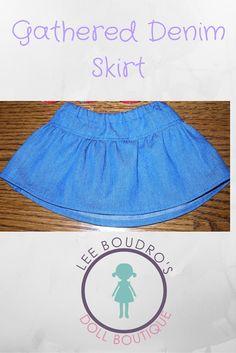 Handmade Gathered Denim Skirt for American Girl Dolls Modern Outfits, Handmade Clothes, Dark Denim, Girl Dolls, My Outfit, Beautiful Outfits, American Girl, Denim Skirt, Gym Shorts Womens