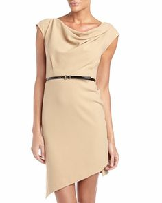Drape-Neck Belted Sheath Dress, Toffee by MICHAEL Michael Kors at Neiman Marcus Last Call.