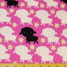 Cuddle Flannel Sheep Lambs On Pink 100% Cotton Flannel Fabric