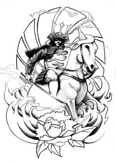 Samurai Tattoo Design, Samurai Sketch maybe a bit of armor on horse and a slightly darker feel. Crows flying in the background maybe?