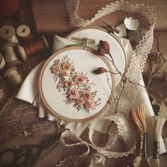 flower embroidery by Brown Aesthetic, Aesthetic Vintage, Embroidery Art, Embroidery Designs, Flower Embroidery, Simple Embroidery, Pastel Wallpaper, Aesthetic Pictures, Light In The Dark