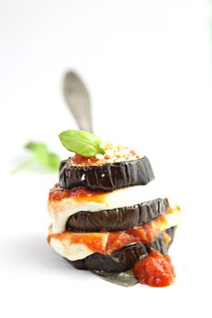 Baked Eggplant Parmesan Stacks + {New West KnifeWorks 7 Piece Knife Block Set GIVEAWAY}