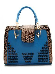Blue Messenger Shoulder Bag With Leopard$50.00