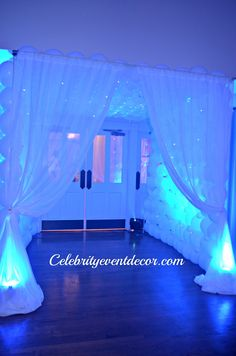 Celebrity Event Decor, LLC like it!! the entrance door!!! NICE!!  Nice photo spot too... pretty.. goes w/ theme??.. snow carpet?? outside that door or inside??
