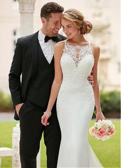 Buy discount Romantic Tulle & Acetate Satin Square Neckline Natural Waistline Mermaid Wedding Dresses With Beaded Lace Appliques at Dressilyme.com
