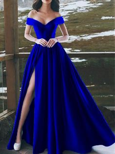 Special Occasion Dresses Sexy V Neck Royal Blue Evening Dresses A Line Long Satin Off Cute Prom Dresses, Prom Outfits, Gala Dresses, Cheap Dresses, Elegant Dresses, Pretty Dresses, Dance Dresses, Sexy Dresses, Formal Dresses