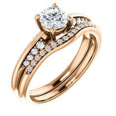 10kt Rose Gold 5.2mm Center Round Geniune Diamond and 16 Accent Round Diamonds Bridal Ring Set...(ST122701:146:P).! Price: $1099.99 #diamonds #rosegold #bridalringset #gold #band