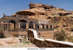 Dar Al Hajar the rock palace in Wadi Dhahr, Yemen, Western Asia, Arabian Peninsula. - Stock Image