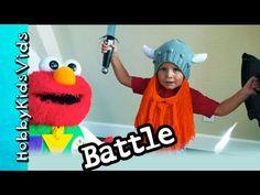 Elmo Battles HobbyBear Viking Fight! NinjaFrog + HobbyPuppy and HobbyPig HobbyKidsVids - YouTube
