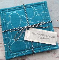 Blue Quilted Coasters - Speech Bubble Fabric - Set of 2 Fabric Coasters £6.00