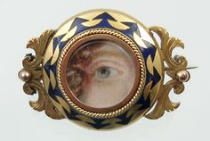 Lover's Eye miniature on ivory in 18k gold and enamel brooch.