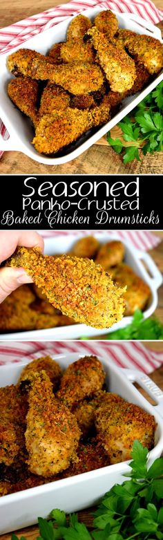 Seasoned Panko Crusted Baked Chicken Drumsticks