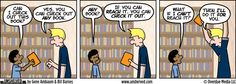 Unshelved strip for 10/28/2013. Reading Level/Limited Access Library issues/humor.