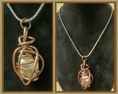CAGED-Wrapped Jade Green Stone Pendant,Beatnik Modernist Copper Coil,Vintage Jewelry,Unisex