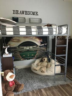 Boys room with full size loft bed! Adorable!!!