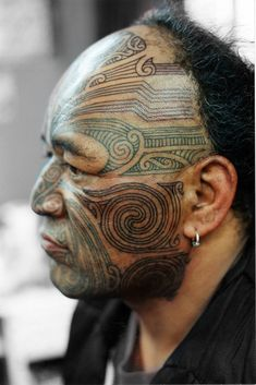 Face, male, Moko (revisited), Maori, Aotearoa, NZ, New Zealand