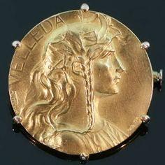 godl french brooch Art Nouveau gold brooch Velleda signed Rivet. $1450