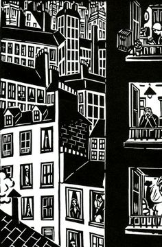 Illustration from Frans Masereel's 1925 book of wood cut prints entitled 'Die Stadt'