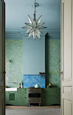 green & turquoise moroccan tile & a white star lantern for the kitchen....