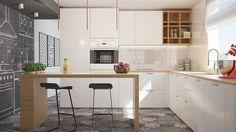 Kitchen Glamora Wallpaper: Cucina in stile in stile Moderno di olivia Sciuto