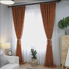 Country Style Burnt Orange Curtains Burnt Orange Curtains, Burnt Orange Bedroom, Orange Bedroom Decor, Fall Bedroom, Bedding Master Bedroom, Bedroom Themes, Bedroom Inspo, Bedroom Ideas, Home Room Design