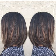 Brunette highlights and chic bob cut                                                                                                                                                                                 Más