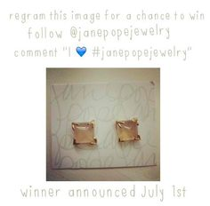"""Follow @janepopejewelry on Instagram and regram this pic with the caption """"I <3 #janepopejewelry"""" for a chance to win these Pyramid Cabochon Studs. Winner announced July 1st!"""