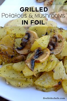 Grilled Potatoes and Mushrooms in Foil is a perfect summer side dish recipe for a BBQ.