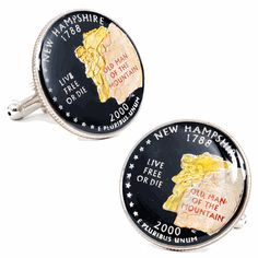 Hand Painted New Hampshire State Quarter Cufflinks by Cufflinksman  #Cufflinks #Fashion #Jewelry #shopping