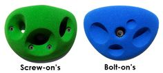 Screw-on holds vs. bolt-on holds how to make an indoor rock wall.