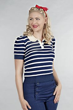 the bowling night knit top. Navy/white