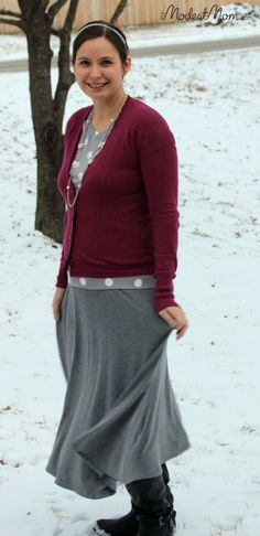Modest Mom Winter Fashion Outfit - Gray skirt with polka dot shirt, cardigan  & boots.