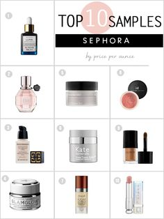1) Bare Minerals Blush  2) Laura Mercier Fairy Dust Eye Shimmer 3) Dior Addict Lipstick 4. Perricone MD Cold Plasma Eye 5. Kate Somerville Deep Tissue Repair Cream with Peptide K8 6. Fresh Sugar Lip Serum Advanced Therapy  7. Sunday Riley Luna Sleeping Night Oil 8. Viktor & Rolf Flower Bomb 9. Givenchy Photo'Perfexion Fluid Foundation 10. Glamglow Supermud Clearing Treatment